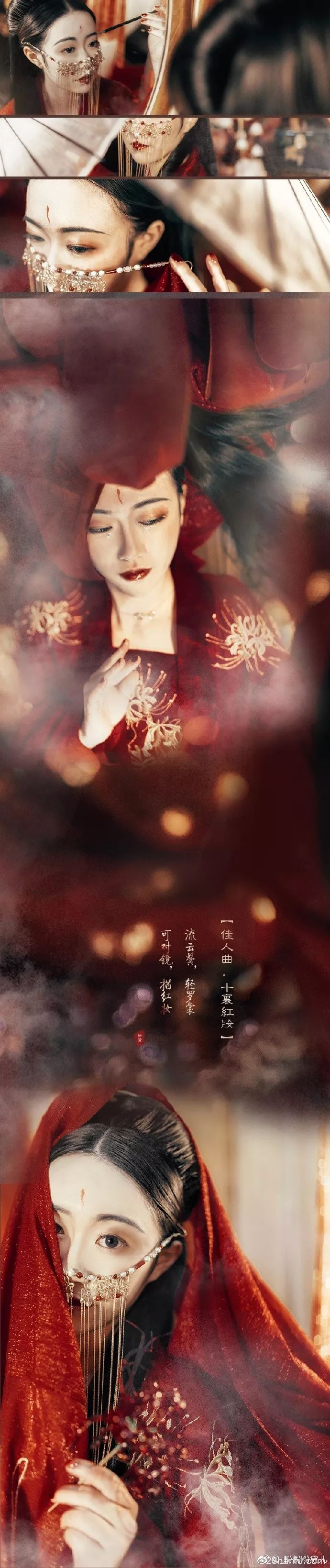 【汉服美图】流云鬓,轻罗裳,可对镜,描红妆。