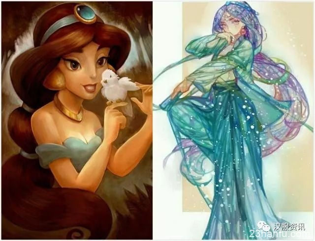 迪士尼公主穿汉服,凤冠霞帔很惊艳!