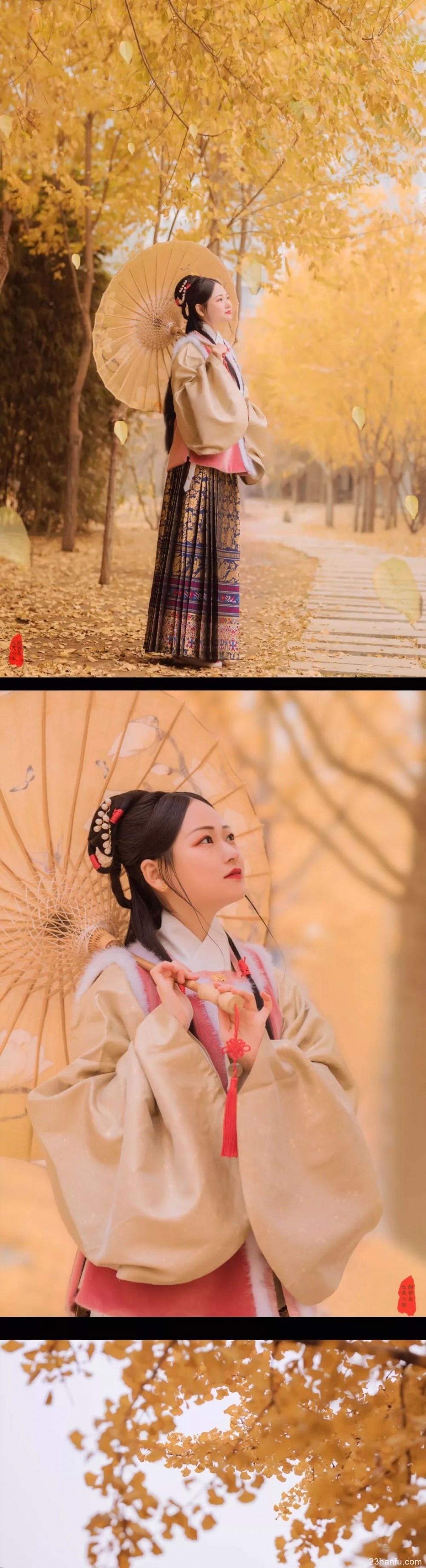 【汉服美景】秋风起,银杏翻飞遍地金